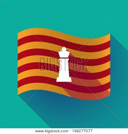 Long Shadow Catalonia Flag With A  King   Chess Figure