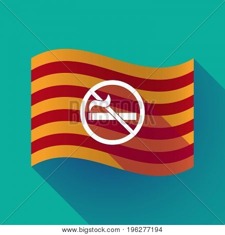 Long Shadow Catalonia Flag With  A No Smoking Sign