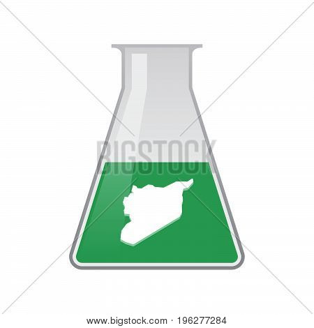 Isolated Chemical Flask With  The Map Of Syria