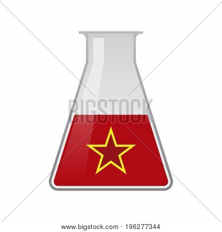 Isolated Chemical Flask With  The Red Star Of Communism Icon
