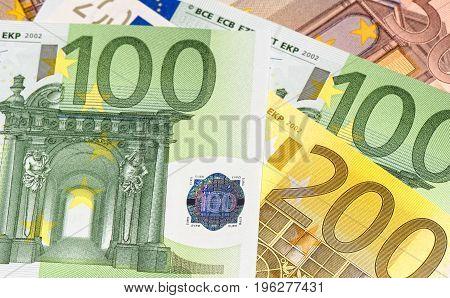 Euro banknotes close-up, finance, economy, shallow DOF
