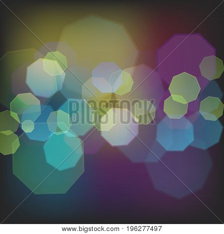 Abstract bokeh background with octangular flecks in dark colors flat vector illustration