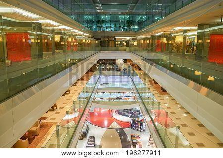 DUBAI, UAE - CIRCA MAY, 2014: view from Business Class Lounge at Dubai International Airport.