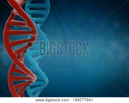 3d rendering dna structure or dna helix on blue background