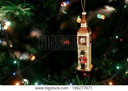 Queen's Guard Near Big Ben Christmas Ornament, Cute Toy Soldier Near Golden Watch Clock English Chri