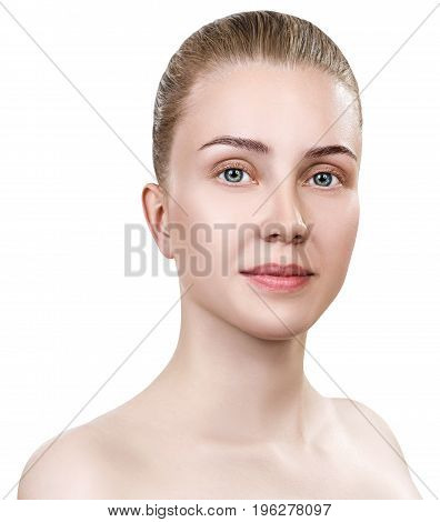 Beautiful young woman with clean skin without make-up. Isolated on white background.