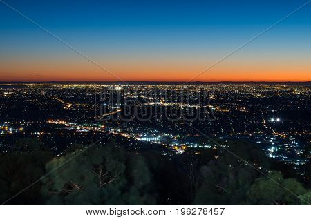 View of Melbourne Australia at sunset from Mount Dandenong in the Dandenong Ranges.