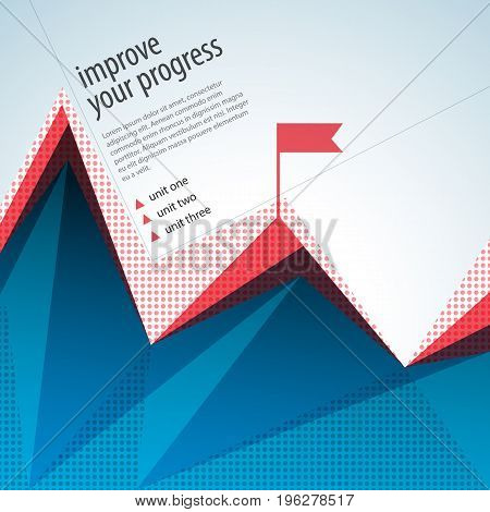 Business abstract template with red flag and text field flat vector illustration