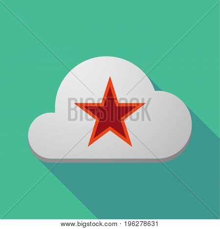 Long Shadow Cloud With  The Red Star Of Communism Icon