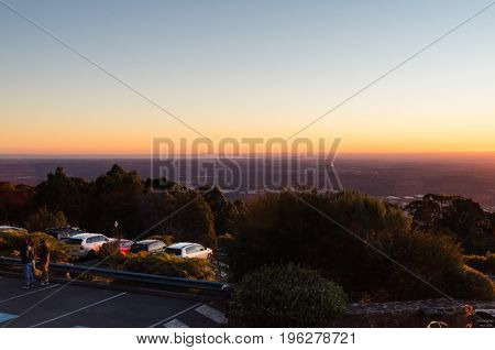 Melbourne Australia - July 2 2017: View of Melbourne Australia at sunset from Mount Dandenong in the Dandenong Ranges.