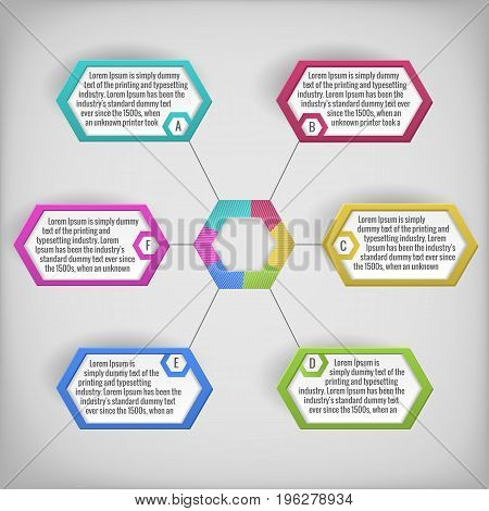 Colorful abstract business diagram with text fields on grey background flat vector illustration