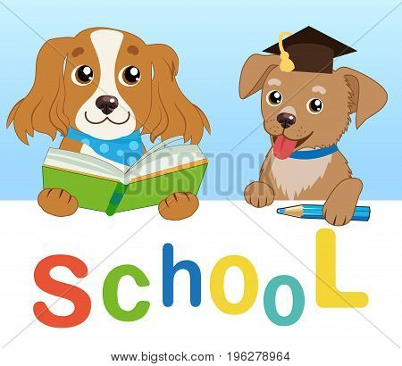 Funny Dogs Read Book On A White Background. Cartoon Vector Illustrations. Back To School. Colored Letters Vector. Cartoon Pets Education Mascot.