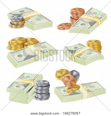 Money Stacks Bill, Coins Isolated Vector Illustration. Realistic Money Stacks Concept