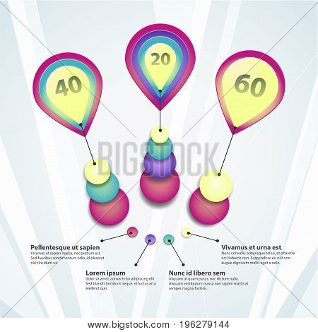 Colorful template circle diagrams with text fields presenting statisctics on light grey background flat vector illustration
