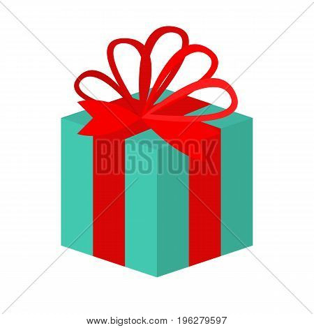 Gift box with ribbon flat icon, vector sign, colorful pictogram isolated on white. Present symbol, logo illustration. Flat style design