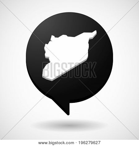 Isolated Comic Balloon With  The Map Of Syria