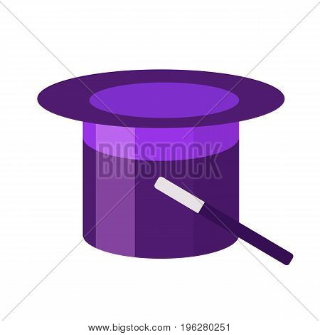 Magic hat cylinder with magic wand flat icon, vector sign, colorful pictogram isolated on white. Magician symbol, logo illustration. Flat style design