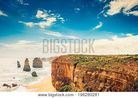 Twelve Apostles scenic coastal view at Castle Rock in pacific ocean in Victoria Australia