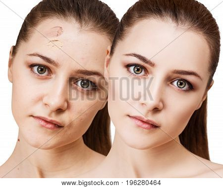 Young woman applying make-up foundation. Before and after make-up.