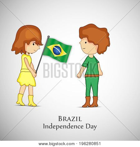 illustration of boy and girl holding Brazil flag with Brazil Independence Day text on the occasion of Brazil Independence Day