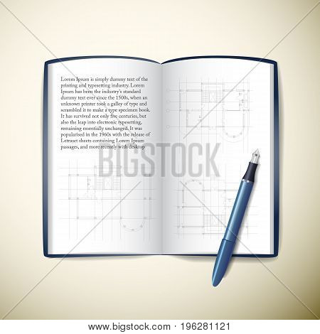 Opened architects paper notebook with text sketches and pen on beige background realistic vector illustration