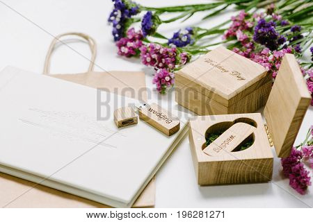 Beautiful White Wedding Photobook And Usb Flash Drive In Vintage Handmade Wooden Box. Wedding Concep