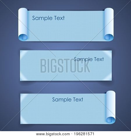 Horizontal architectural blank squared sheets of paper banners set with sample text on blue background isolated realistic vector illustration