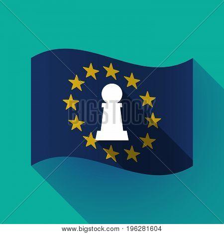 Long Shadow Eu Flag With A  Pawn Chess Figure