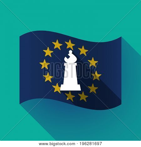 Long Shadow Eu Flag With A Bishop    Chess Figure