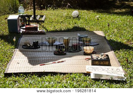People Prepare And Making Sado Chanoyu Or Japanese Tea Ceremony, Also Called The Way Of Tea At Outdo