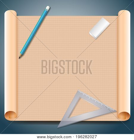 Architect squared brown paper with pen triangular ruler and eraser on grey background realistic vector illustration
