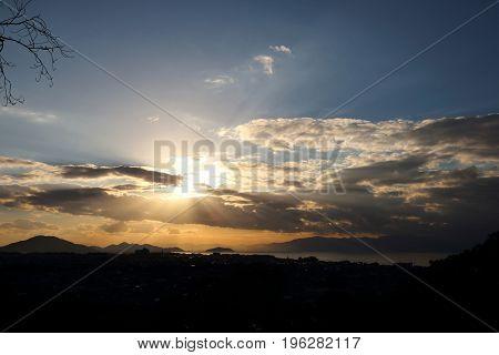 Ray of Life shining on Lake Biwa at Hikone city Japan