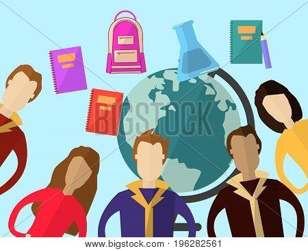 Global and Distance Education Concept. Flat modern design. Vector Illustration