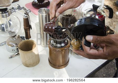 Thai People Use Antique Manual Coffee Grinders Made Coffee For Sale
