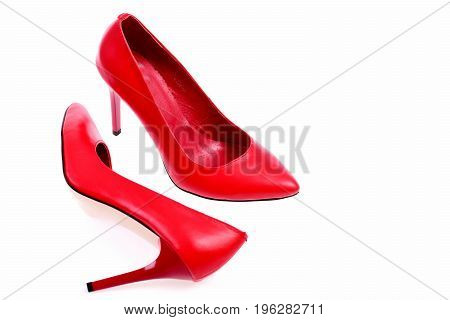 Female Formal Footwear In Red Colour, Closeup