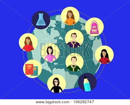 Global and Distance Education Concept. Flat modern design. Vector Illustration