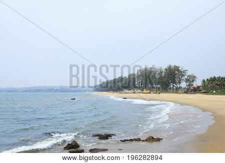 Beautiful empty beach with tropical nature and sea