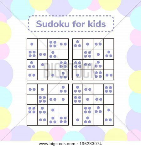 vector illustration. Sudoku game for children with pictures. Logic game for preschool children. rebus for children. Educational game. point.