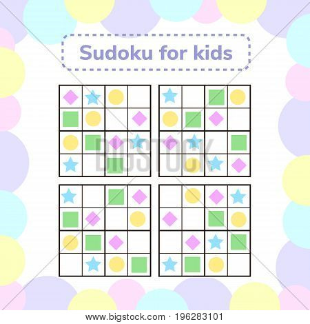 vector illustration. Sudoku game for children with pictures. Logic game for preschool children. rebus for children. Educational game. rhombus, star, square, circle.