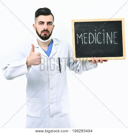 Man With Confident Face In White Medical Gown