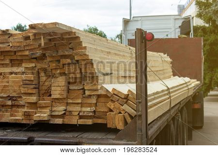 Pine boards for construction on a car trailer