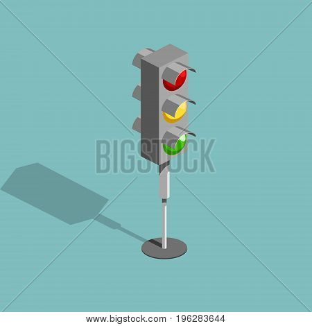 Traffic light isometric style colorful vector illustration