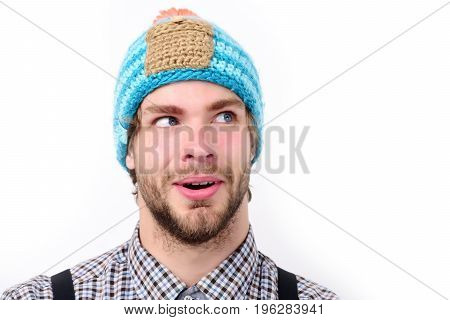 Bearded Man With Surprised And Happy Face Wears Hat