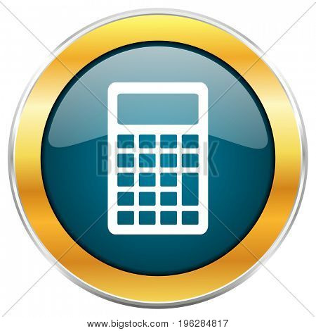 Calculator blue glossy round icon with golden chrome metallic border isolated on white background for web and mobile apps designers.