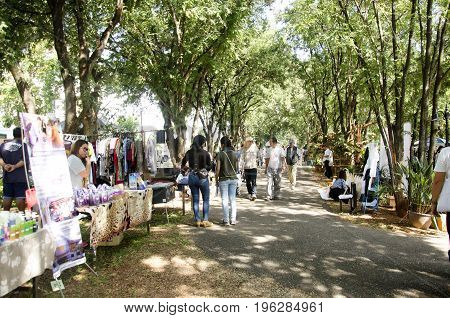 Thai People And Foreigner Travellers Walking Travel And Shopping At Organic Street Market
