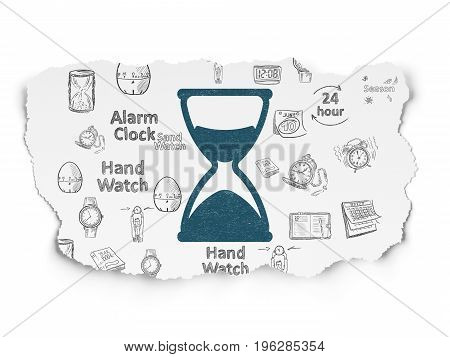 Timeline concept: Painted blue Hourglass icon on Torn Paper background with  Hand Drawing Time Icons