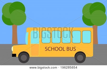School Bus. Yellow bus isolated on street background in vector.