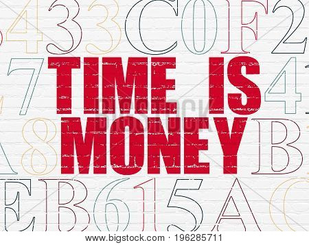 Timeline concept: Painted red text Time is Money on White Brick wall background with Hexadecimal Code