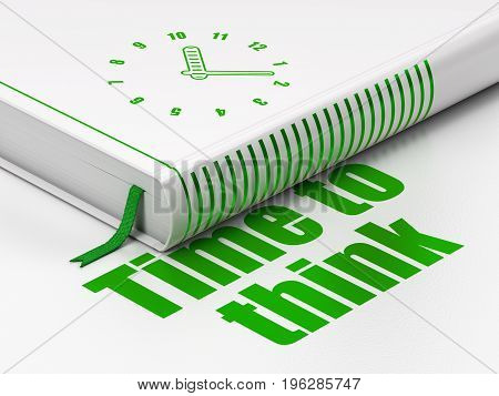 Time concept: closed book with Green Clock icon and text Time To Think on floor, white background, 3D rendering