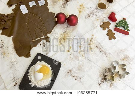 Gingerbread House Baking Flat Lay